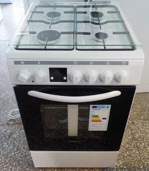 Kuchnia gazowa-elektryczna Finlux, biała, gwarancja Pyskowice - image 1