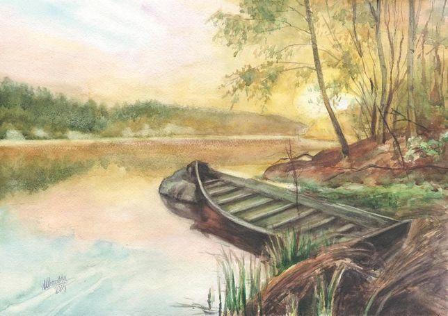 Картина Акварель - Пейзаж с лодкой - художник Оксана Шашкова