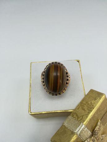 Złoty pierścionek Tygrysie Oko złoto 585 rozmiar 17