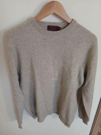 Beżowy sweter wełna jagnięca oversize