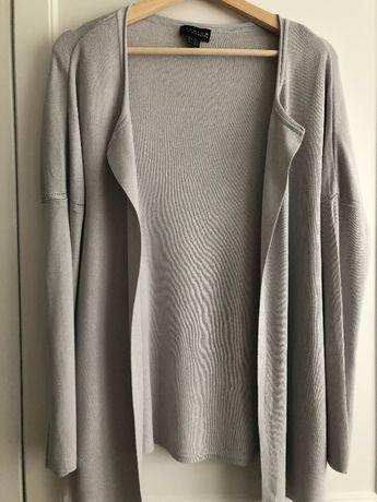 Sweterek sweter kardigan narzutka szary popielaty wiskoza 38 M