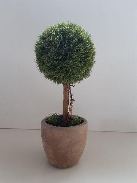 mini drzewko sztuczne, tuja na pniu, sztuczna roślina 23 cm