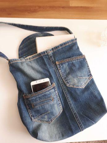 Torba jeans rękodzieło