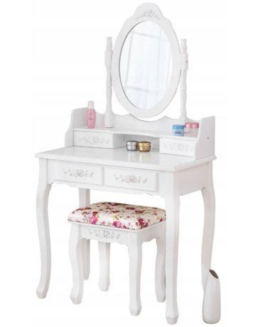 Przepiękna toaletka kosmetyczna +taboret, pędzle i gąbka GRATIS
