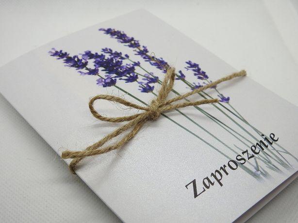 zaproszenie zaproszenia lawenda lawendowe na ślub ślubne chrzest