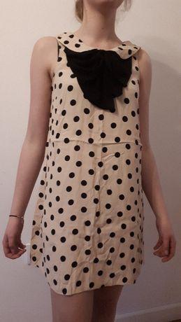 RIVER ISLAND slicznabeżowa sukienka w groszki M/L