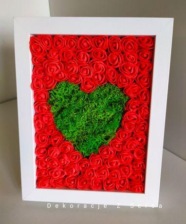 Obrazy, serce, mech chrobotek, dekoracja na prezent, do sypialni