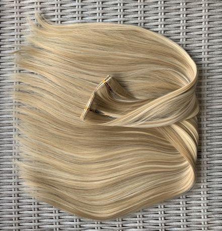 Włosy doczepiane, odcienie blondu, pasemka, 16, clip in ( 103 )