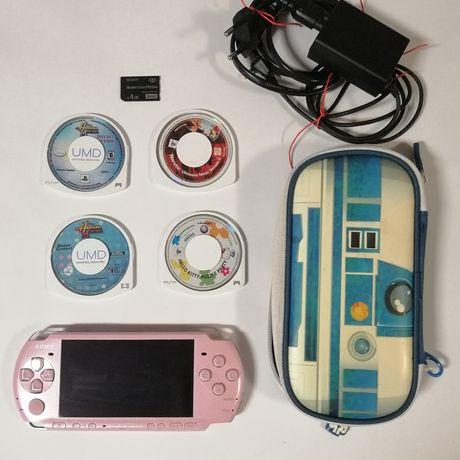 PSP 3004 rosa + 3 jogos + cartão de memória 4GB + carregador + bolsa