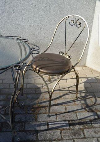 Dwa krzesła ogrodowe kute metalowe glamour