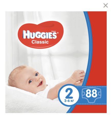 Подгузники Huggies classic, 2 (3-6 кг), 88 штук/упаковка