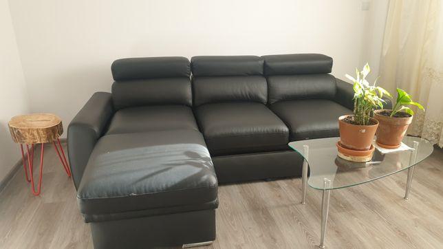 Narożnik z funkcją spania czarna, Eco skóra, łóżko sofa rozkładana