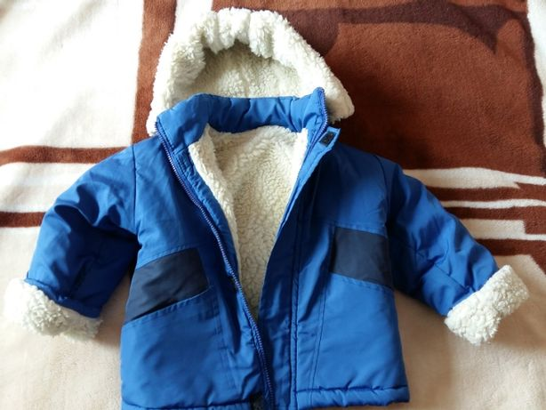 Курточка на натуральной овчине детская синяя на рост 110 см