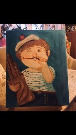 Картина маслом Морячок, копии Гапчинской