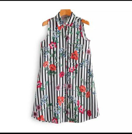 Sukienka koszulowa letnia paski kwiaty