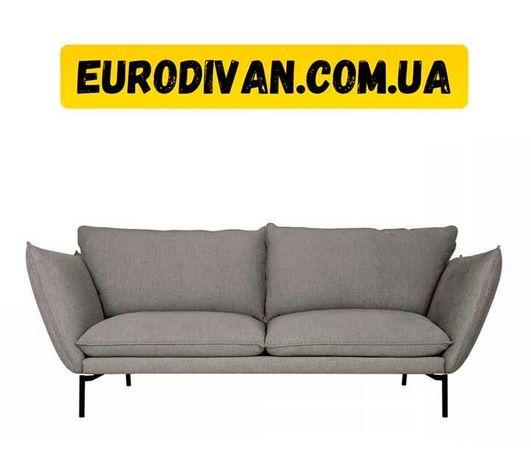 Скандинавский диван Лутта, 3местный, для дома, офиса. Кожа/ткань/эко
