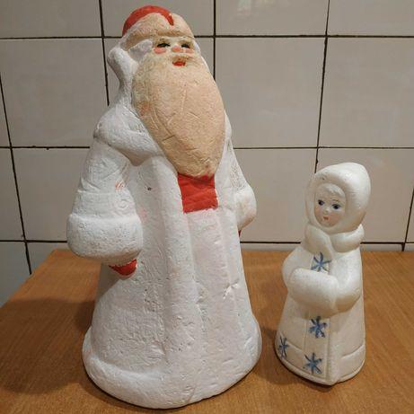 Дед Мороз и Снегурочка СССР Игрушка винтаж Новый год Новий рік