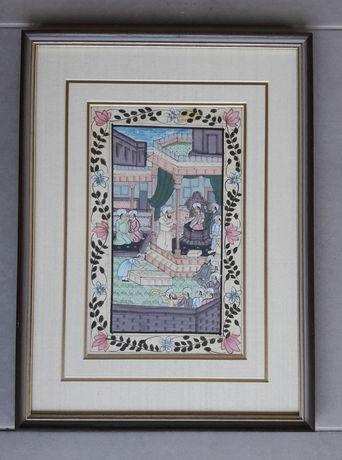 Vendo conjunto de 2 Quadros orientais pintados à mão sobre seda.