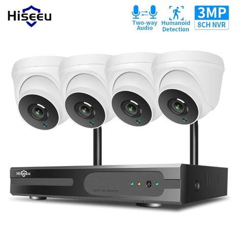 Sistema completo de vigilância Hiseeu CCTV Sem fios, 3.0 mpx 4 câmaras