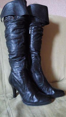 Сапоги ботфорты кожаные