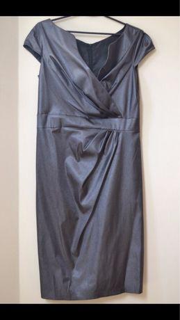 Grafitowa połyskująca sukienka 44