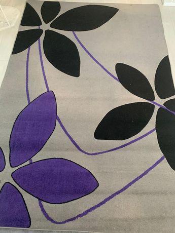 Dywan-używany 200x290 szaro fioletowo czarny