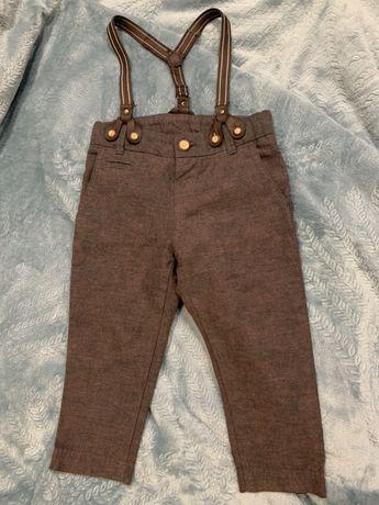 Детские брюки ZARA с подтяжками, 9-12 мес, рост 78 см