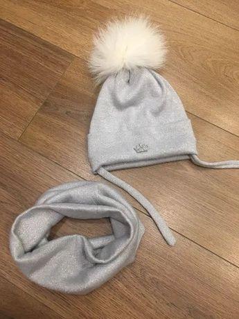 Зимняя шапочка шапка снуд хомут с помпоном 40 42