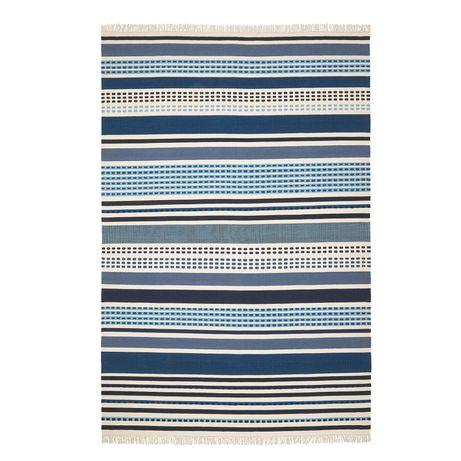 Nowy dywan Vonsild IKEA niebieskie paski ręcznie tkany wełniany UNIKAT
