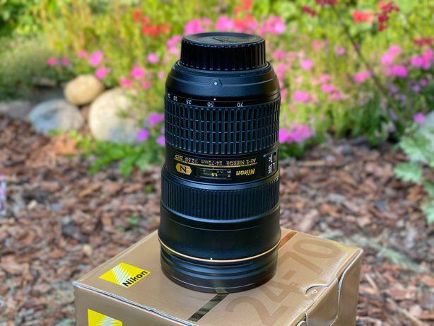 Nikkor 24-70mm f/2.8G ED super stan, kalibrowany. Z filtrem HD UV