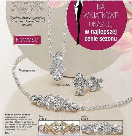 Komplet biżuterii Romilda posrebrzany NOWY Avon