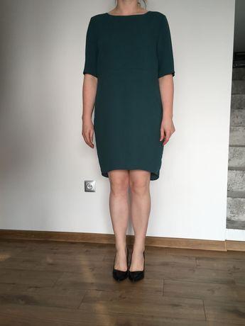 Sukienka klasyczna roz. 44 zielona krótki rękaw reserved