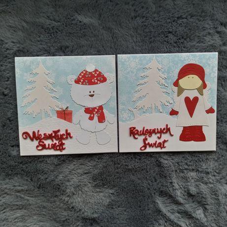 Kartka ręcznie robiona świąteczna anioł lub miś