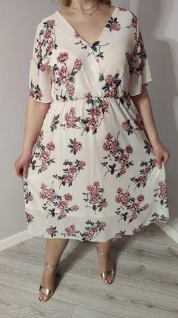 Sukienka kopertowa WIOSNA nowa DUŻE ROZMIARY