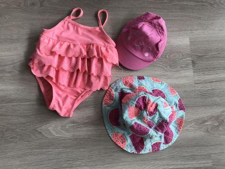 Strój kąpielowy 74 plus kapelusz UV 50 i czapka z daszkiem