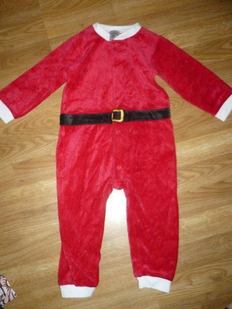 Костюм новогодний Санта Человечек велюровый 12-18мес.