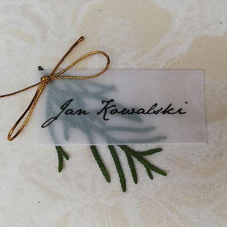 Winietki na papierze transparentnym z rośliną