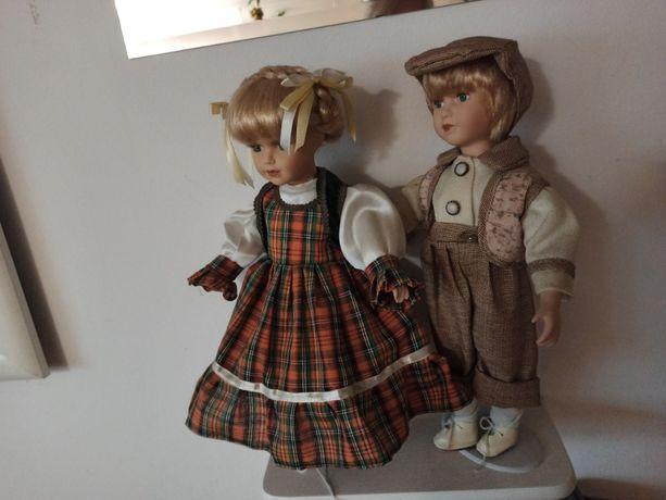 Lalki kolekcjonerskie porcelanowe 2 szt. chłopiec dziewczynka STAN