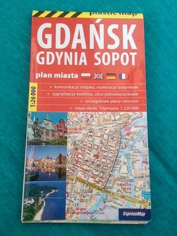 Gdańsk,Gdynia,Sopot plan miasta,mapa laminowana