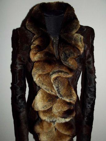 Натуральная шуба Куртка из меха пони с шиншиллой р. S-M