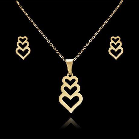 Śliczny Romantyczny Złoty Komplet Biżuterii