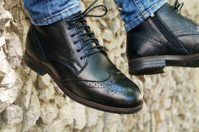 Высокие ботинки броги демисезон кожа