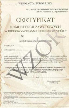 Certyfikat Kompetencji Zawodowych przewóz OSÓB