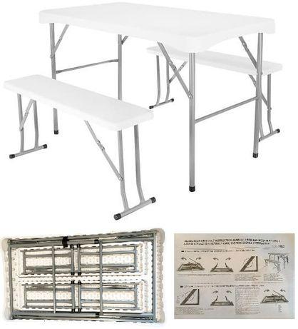 ZESTAW OGRODOWY STÓŁ + 2 ŁAWKI Przenośny Składane ławki i stół