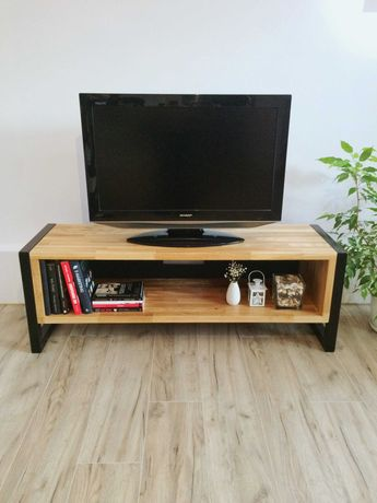 Dębowa szafka RTV pod telewizor industrialna loft metal drewno 100x40