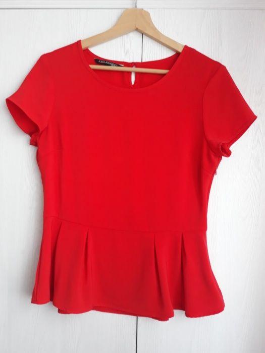 Czerwona bluzka z baskinką Top Secret, r. 36