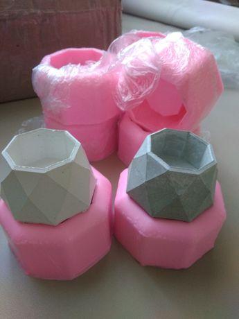 Кашпо, горшок для цветов из бетона. Силиконовые формы для кашпо