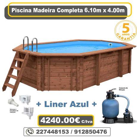 Piscina de Madeira 6.10m x 4.00m + Sistema de Filtragem + Acessorios