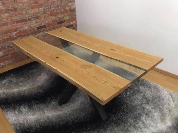 Stół dębowy zalany żywica epoksydową -NOWY !