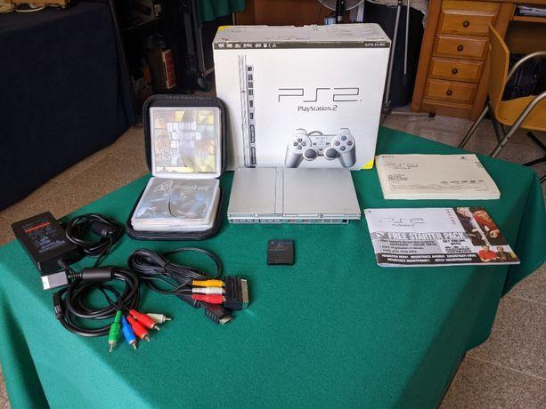 PlayStation 2/PS2 Slim Prata CFW + Jogos + Acessórios